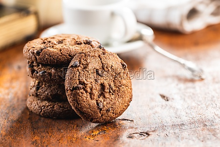 tasty biscuits with chocolate sweet chocolate