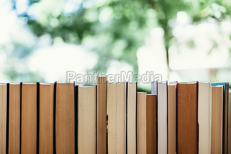 stack of books at a charity