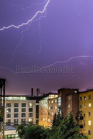 lightning on the cloudy sky urban