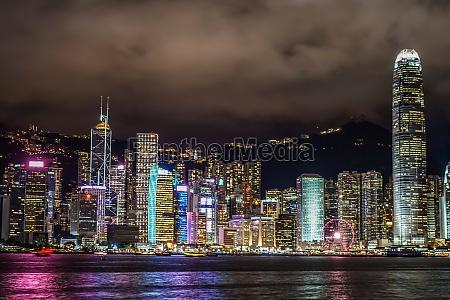 hong kong night view seen from