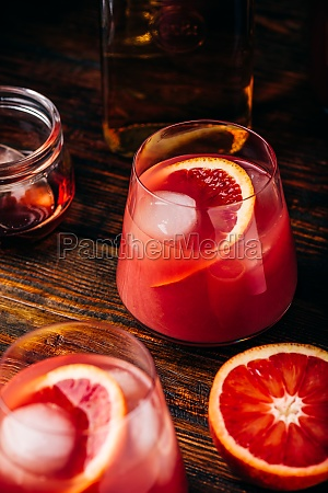whiskey sour cocktail with blood orange