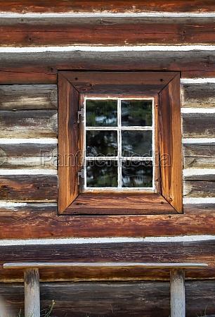 wooden window in rustic old peasant