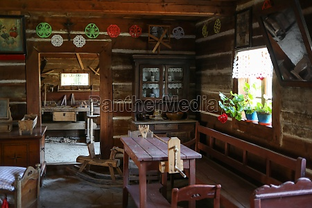interior of wooden rural cottage from