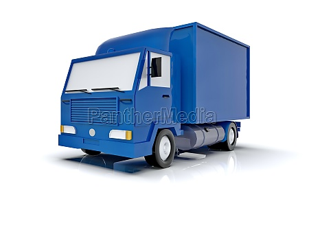 blue toy commercial delivery truck on