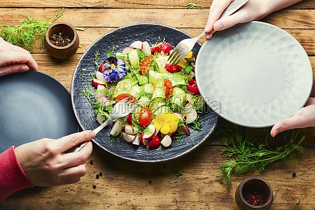 spring vegetable salad with flowers