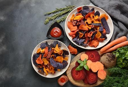 baked vegetable chips garnet sweet potato