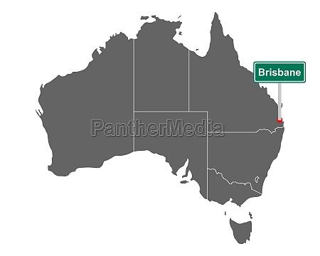ortsschild brisbane auf landkarte von australien