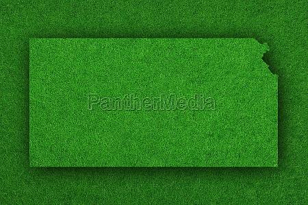 map of kansas on green felt