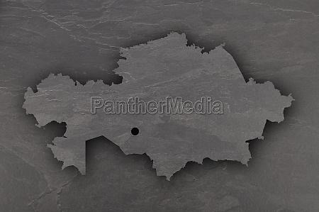 map of kazakhstan on dark slate
