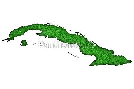 map of cuba on green felt