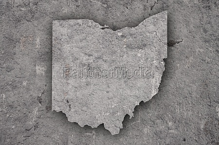 map of ohio on weathered concrete