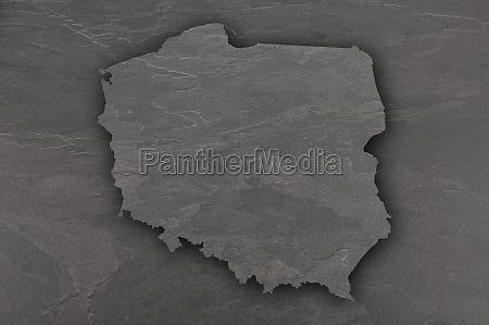 map of poland on dark slate