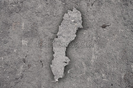map of sweden on weathered concrete