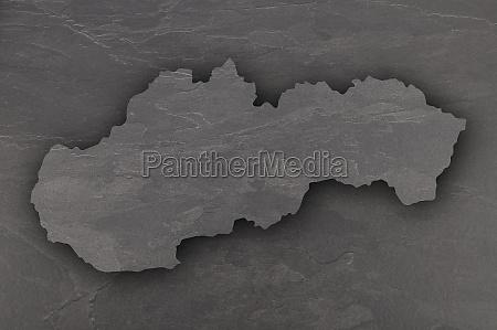 map of slovakia on dark slate