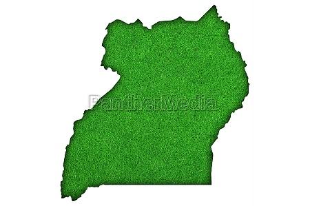 map of uganda on green felt