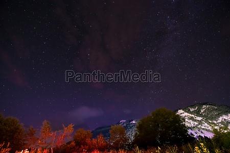 night sky above mountain