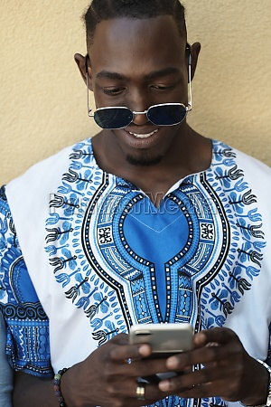 native african black man using smart
