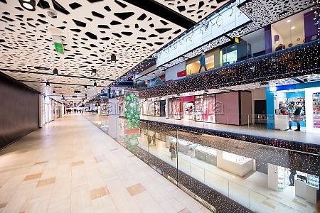 interior of big modern shopping mall