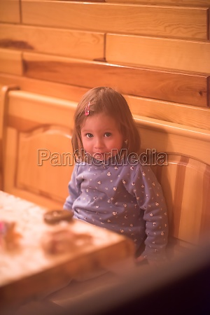 little cute girl playing near the