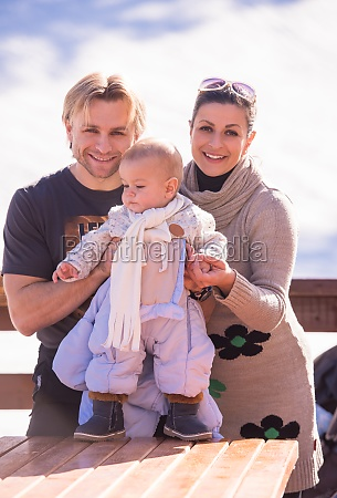 young happy family with little child