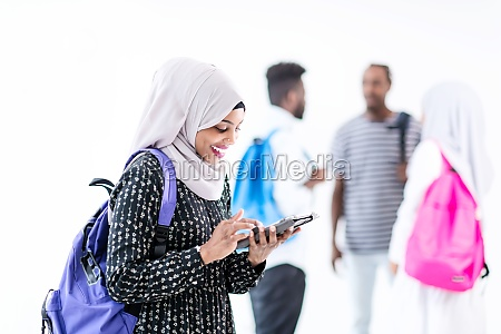 african female student with group of