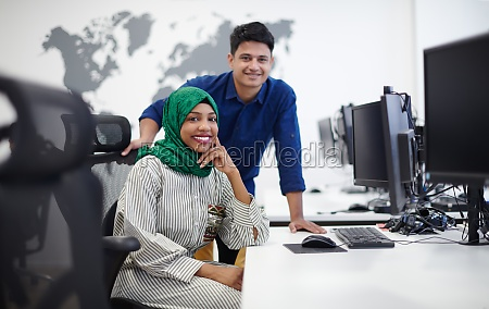 multiethnic startup business team with arabian