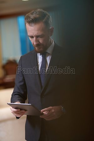 business man using tablet computer