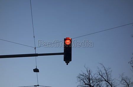 red traffic light on the street
