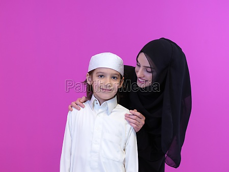portrait of muslim mother and son