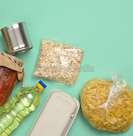 various products pasta sunflower oil in