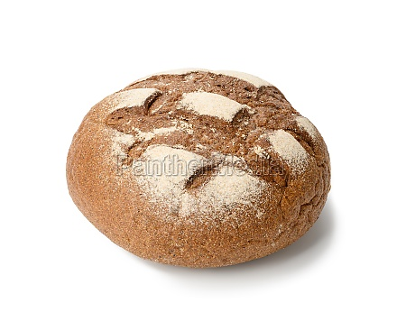 round baked rye flour bread isolated
