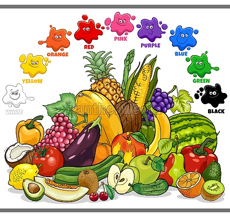 basic colors for children with fruits