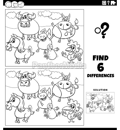 differences game with farm animals coloring
