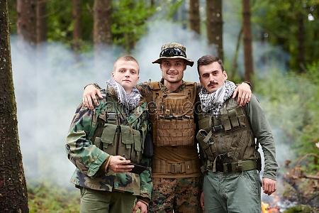 soldiers and terrorist taking selfie