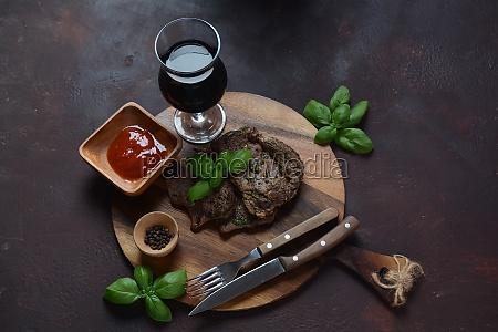 grilled premium rib eye beef steak