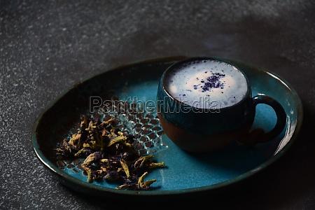 blue butterfly pea latte tea from