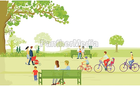 families in the city park at