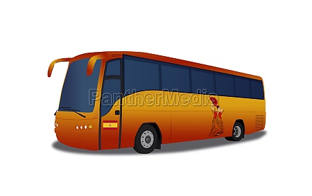 spain tour bus isolated