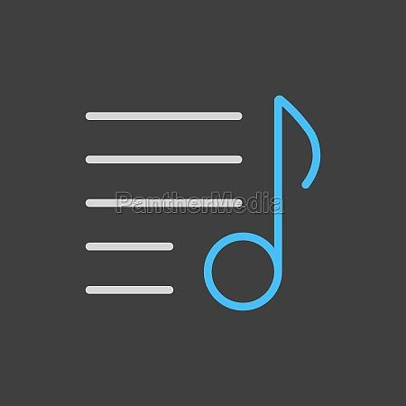 music playlist vector icon on dark