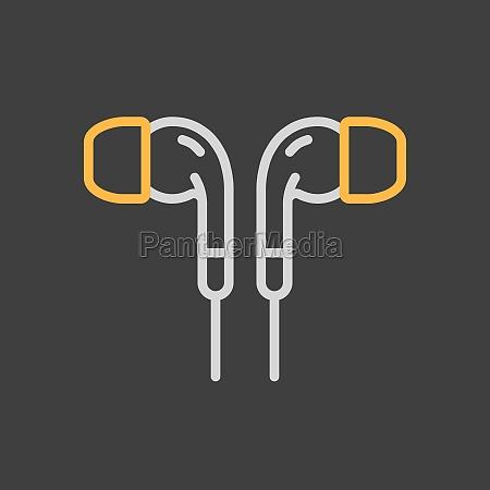 earbuds headphone vector icon on dark
