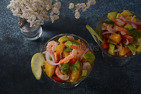 ceviche salad with shrimps oranges and
