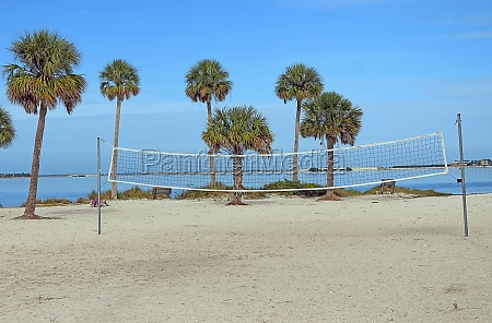 volleyball net installed in sunset beach