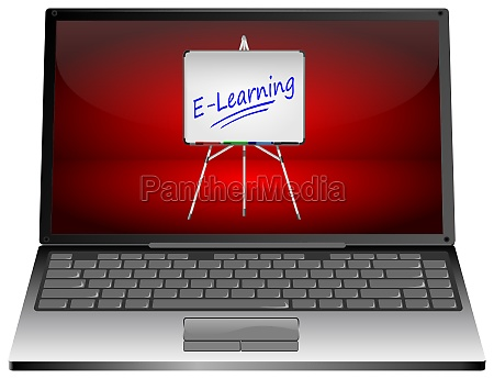 laptop computer with e learning on