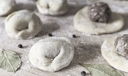 russian dumplings and components for their