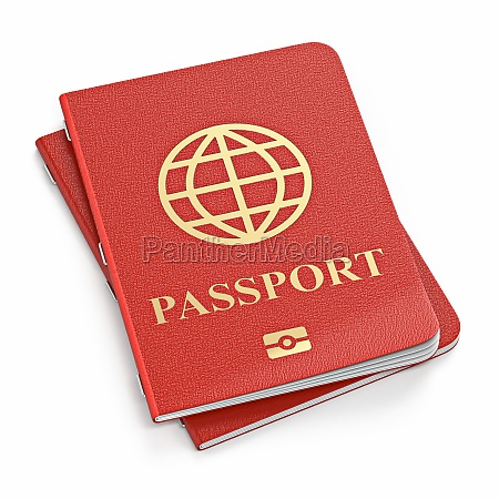 two red passports 3d