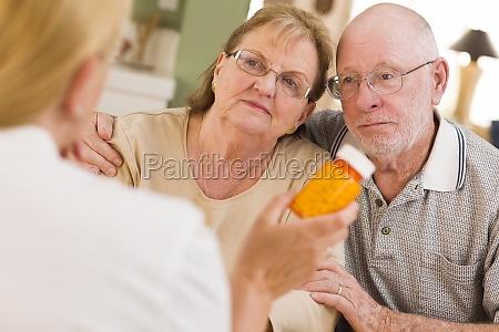 doctor or nurse explaining prescription medicine