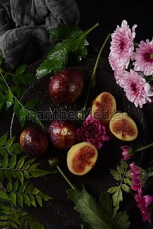 raw fresh fig fruits on dark