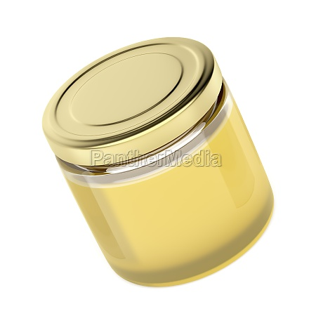 glass jar with pure honey