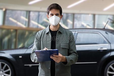 car sale in mask salesman