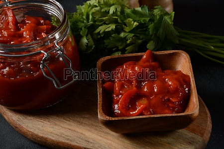 a jar of stewed salad with